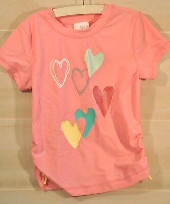 1636f4cc1996c2 Hanna Andersson girls PINK HEARTS swim shirt rash guard size 140 cm US size  10