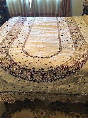 "Stunning Beige Cutwork Tablecloth With Crocheted Scalloped Edges 68"" x 120"""