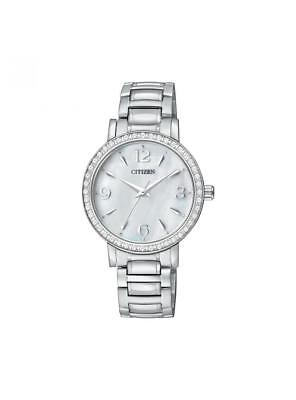 NEW* Citizen Women's EL3040-55D Stainless Steel Crystal Bezel White Dial Watch