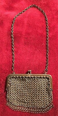 19th Century Metal Ring Mesh Purse German Germany Vintage Antique