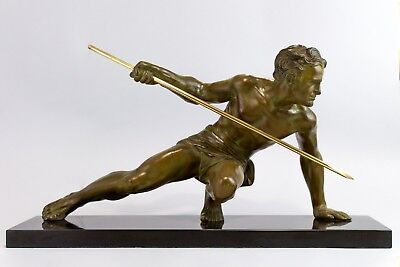 1930's STATUE SCULPTURE ART DECO ATHLETE HUNTER BY UGO CIPRIANI. SIGNED