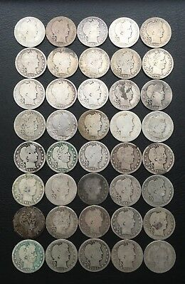 LOT OF 40 BARBER SILVER HALF QUARTERS FULL ROLL*1892-1916* With Semi-Key Dates