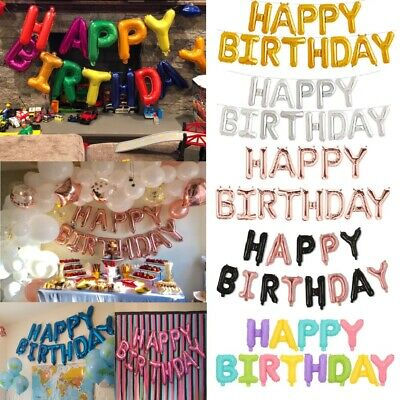 Happy Birthday Balloon Balloons Banner Bunting Rose Gold Silver Letters Foil Big