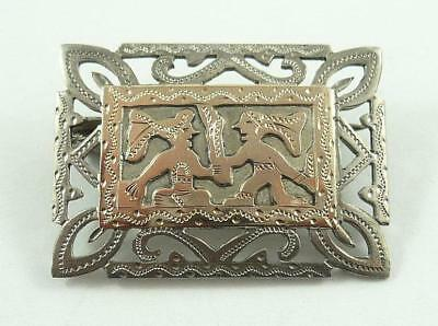 Lovely Vintage Guatemala Silver Open Work Brooch or Pin with Rose Gold Overlay