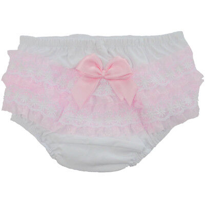 Baby Girls Romany Frilly Knickers Pants Pink Double Satin Bow & Lace Soft Touch