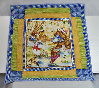 Baby quilted handmade blanket animals playing instruments 34x31 multi color