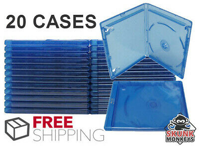 (20) Bluray Replacement Cases 12mm 1 Disc Single With Logo Premium Movie Storage