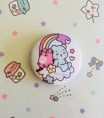 Limited RARE PUSHEEN CAT X CARE BEARS PIN BUTTON Collectible Pastel CUTE