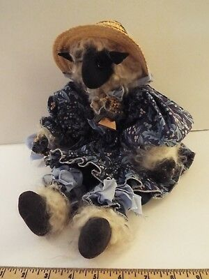 hand-crafted-made little bo peep black sheep stuffed artist doll-hat-blue dress