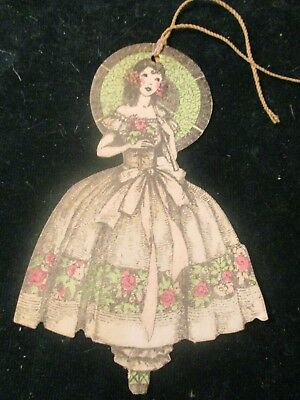 Vintage Art Deco Bridge Tally  1930S Victorian Beauty W Flowered Dress By Gibson