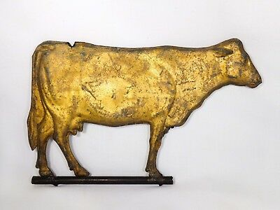 Early 20Th C Antique Hollow Bodied, Molded Zinc Gilt Gold Leaf Cow Weathervane
