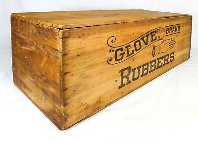 Late 19Th-Early 20Th Cent Vint Glove Brand Rubbers Lg Wooden Box Crate Boston Ma