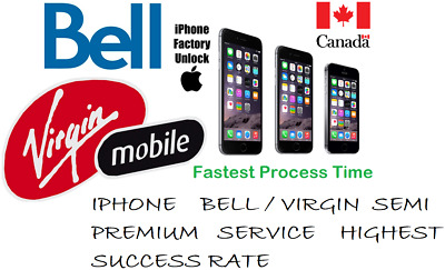 Bell / Virgin Semi Premium Service Unlock By Imei All Iphone Models Till X