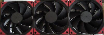 3X 120mm PWM Fan 1800RPM CPU / Computer Cases Black / RED LED