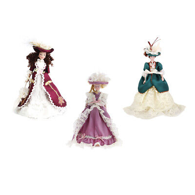 3PCS 1/12 Dollhouse Miniature Porcelain Doll Victorian Lady in Gown with Hat