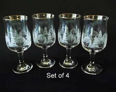 4 Libbey Christmas Winter White Frosted Pine Trees Stemmed Glasses Goblet Arby's