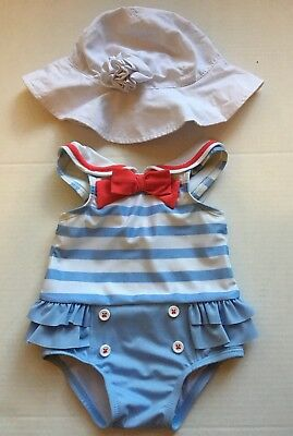 Gymboree Baby Girl Swimming Suit 6-12mo With Hat Nautical Red Blue