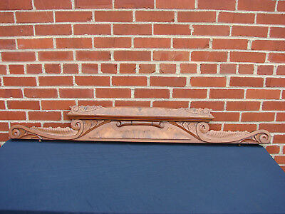 "60 3/8"" Antique Walnut Victorian Crown Crest Shelf Pediment"