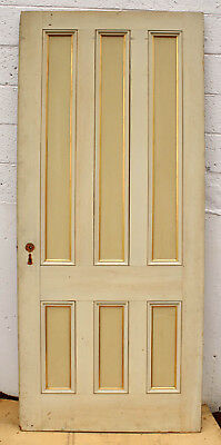 "35.5""x83 Antique Vintage Victorian Queen Anne SOLID Wood Fir Wooden Door 6 Panel"