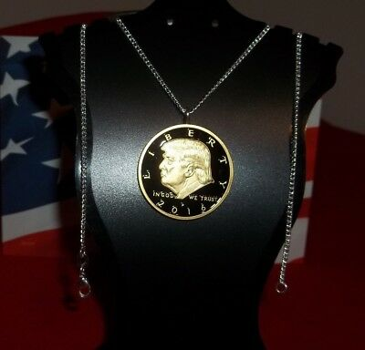 "President Donald Trump - 24"" Commemorative Necklace In God We Trust, Gold Plated"