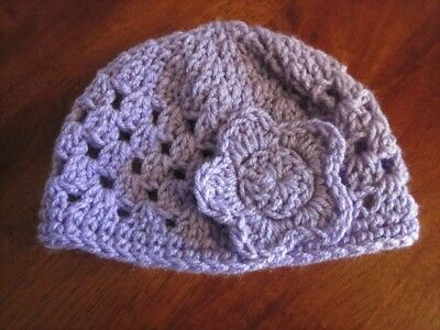 Baby Purple Crochet Beanie Hat with Flower suit 3 - 6 months