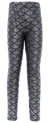 Girls Kids Toddler Mermaid Leggings Fish Scale Metallic Skinny Trousers Pants US
