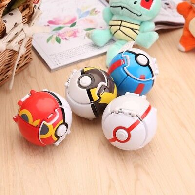 4Pcs Bounce Pokemon Pop-up Elf Go Poke Ball Fighting Throw Cosplay Toy Kids Gift