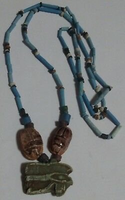 """HORUS symbol of protection Egyptian Necklace Mummy Beads Hand Beaded, 32""""/D"""