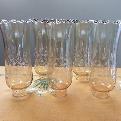 LOT FIVE VINTAGE GLASS CANDLE STORM SHADES x5 Etched Clear Light Amber 25 cm