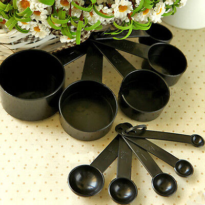 10Pcs Black Plastic Measuring Spoons Cups Set Tools For Baking Coffee Tea AN