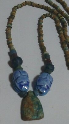 """Queen Cleopatra & Scarabs, Egyptian Necklace Mummy Beads Hand Beaded, 30""""/F"""