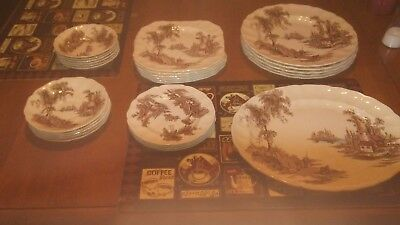 The old mill made in England. Jonhsonbrothers. matching china dishes