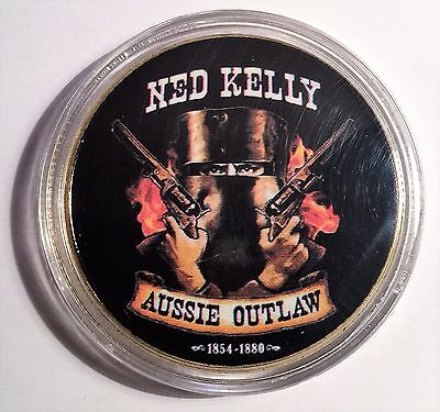 """""""NED KELLY"""" Colour Printed 999 24k Gold plated coin, Aussie Outlaw (08)"""