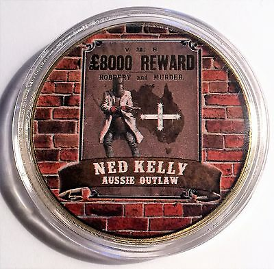 """""""NED KELLY"""" Colour Printed 999 24k Gold plated coin, Outlaw, Reward (11)"""