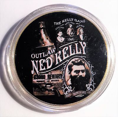 """""""NED KELLY"""" Colour Printed 999 24k Gold plated coin, Outlaw Ned Kelly (10)"""