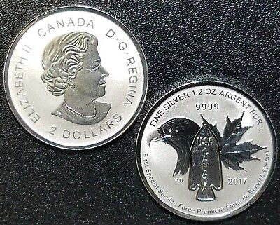 Canada 2017 Devil's Brigade 1/2 Oz Silver Special Service Force☆1 Coin From Roll