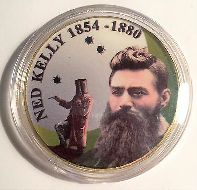 """""""NED KELLY"""" Colour Printed 999 24k Gold plated coin, 1854-1880 (15)"""