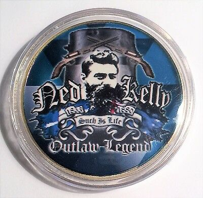 """""""NED KELLY"""" Colour Printed 999 24k Gold plated coin, Outlaw Legend (14)"""
