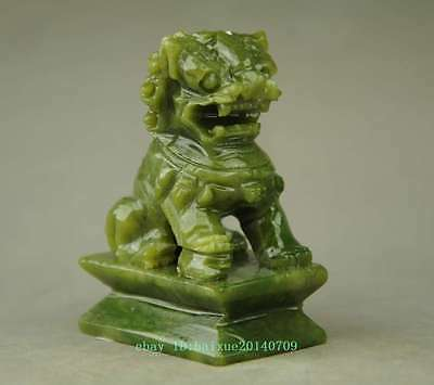 China Natural Green Jade Fengshui Fu Foo Dog Lion Guardian Door Statue a01