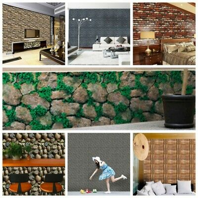 USA 3D Wall Paper Brick Stone Effect Self-adhesive Wall Sticker Wall Room Decor