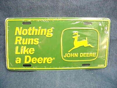 John Deere Nothing Runs Like A Deere License Plate - Traditional Logo - New