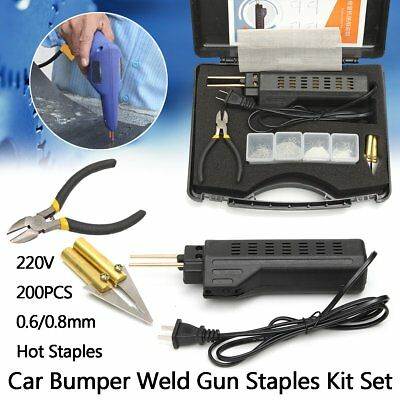 Hot Stapler Car Bumper Fender Fairing Welder Gun Plastic Repair Kit + 200 Staple