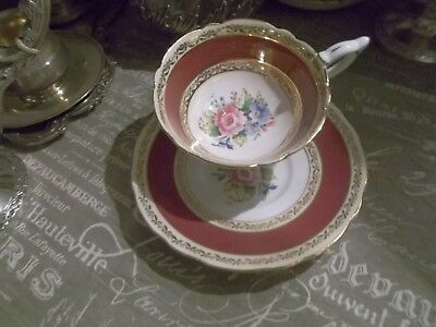 ROYAL STAFFORD  2 pieces SET Cup&Saucer - ELEGANT Deep-Red PERFECT VINTAGE