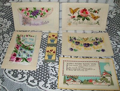ANTIQUE EMBROIDERED SILK POSTCARDS + 1 + HANDMADE MATCHBOXES WWI 1917/18 France