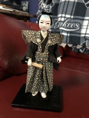"""Beautiful  Vintage 7""""  Hand Made Japanese Man Doll On Stand With Wood Base"""