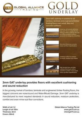 3mm Gold Underlay for laminate, bamboo, engineered floors