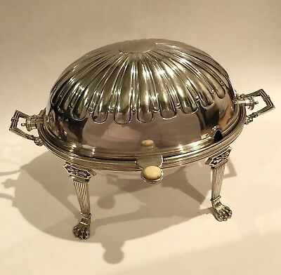 Antique Silver Tureen Butter Dish Bowl Roll Top Dome Ornate 7481 JD Sheffield