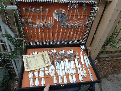 as NEW  Vintage  Intalian Cutlery Set 51  Piece Silver Plated  for 12 people
