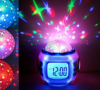 Kids LED Music Digital Alarm Clock Projection Star Sky Calendar+Time+Thermometer