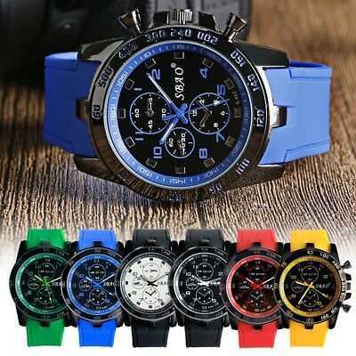 Men Casual Leather Strap Watch Quartz Analog Students Sports Wrist-Watch